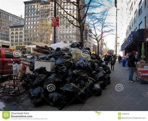 The City Digs Through Nyc Trash by Pile Of Trash On In New York City Editorial Stock