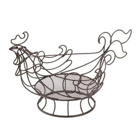 country rooster basket copper colored wire chicken kitchen