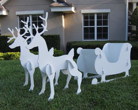 reindeer sleigh lawn decorations for christmas santa sleigh reindeer set outdoor yard decor 2 vintage style met ebay
