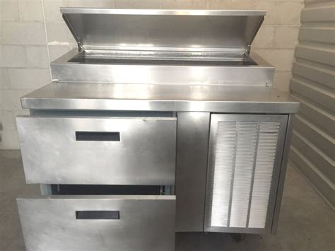 delfield pizza prep table with drawers used delfield 48 quot raised rail 2 drawer work pizza prep
