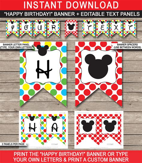 printable mickey birthday banner mickey mouse party banner template birthday banner