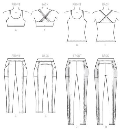 yoga leggings sewing pattern butterick 6295 misses bra top top and leggings