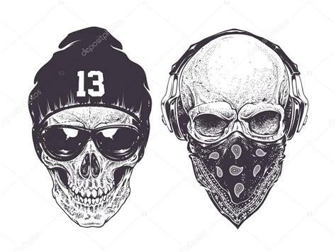 imagenes de calaveras gangster dotwork calaveras vector de stock 74088561 depositphotos