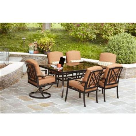 hton bay cedarvale 7 patio dining set with nutmeg