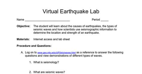 Earthquake Virtual Lab | virtual earthquake lab google docs