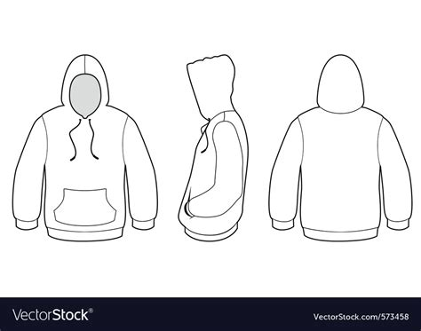 Hooded Sweater Template Royalty Free Vector Image Sweater Template