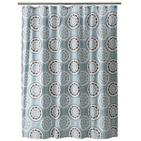 blue brown shower curtain threshold medallion shower curtain blue brown