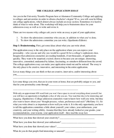 Personal Essay Exles For College Application by College Application Outlines