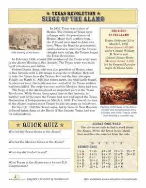 The Siege Of The Alamo Folder 4th Grade Social Studies