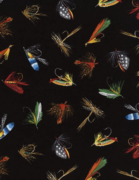 flies in the backyard fishing flies fabric by the yard novelty cotton by tcsfabrics