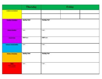 weekly primary blank lesson plan template by kickin