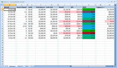 poker stat tracking excel formatting tricks  poker tracking
