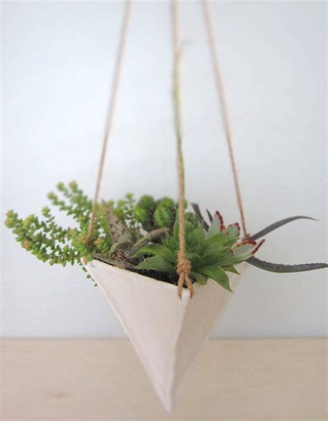 white hanging planter white porcelain hanging trianglular planter large on