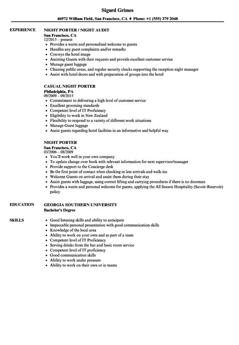 Porter Resume by Porter Resume Sle Sanitizeuv Sle Resume And