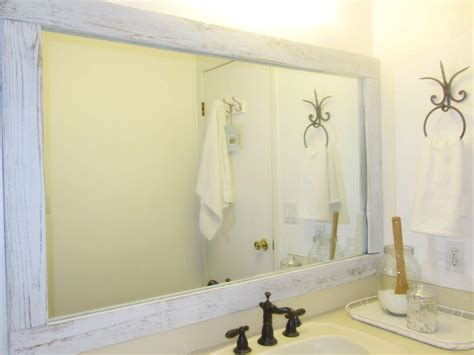 Mirror Wall In Bathroom Rustic Bathroom Wall Mirror With White Stained Mahogany Wood Frame Of Astonishing Wooden Framed