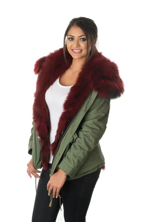stonetail womens ruby red fox fur parka jacket