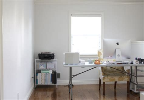 decorators white benjamin moore one room challenge the office is painted simply organized
