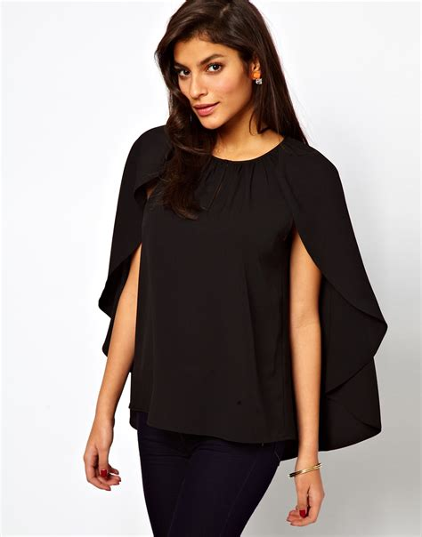 cappe best asos collection asos top with soft cape sleeve in black lyst