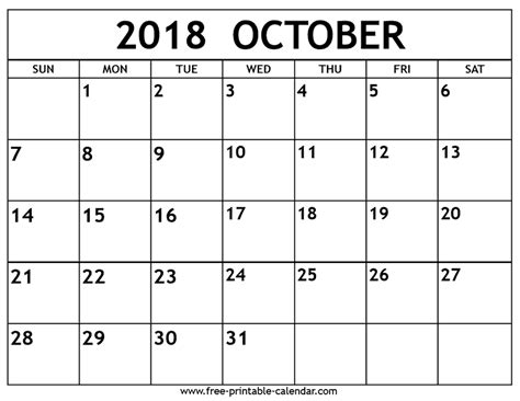 printable calendar oct 2018 october 2018 calendar free printable calendar com