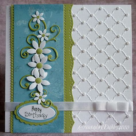 Handmade Embossed Cards - gorgeous handmade card dimensioal flowers flourishes