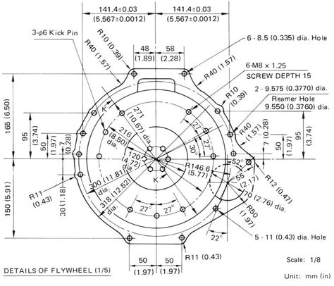 bolt pattern drawing flywheel gearbox bolt dimensions a engine datsun 1200