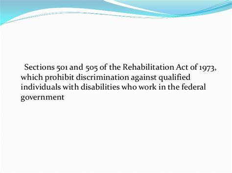 section 501 of the rehabilitation act of 1973 employee job description