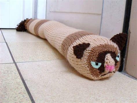cat door stopper pattern grumpy cat knitted door draft stopper made to order