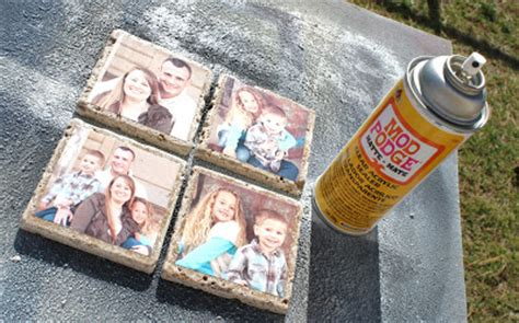 How To Seal Decoupage - diy photo tile coasters