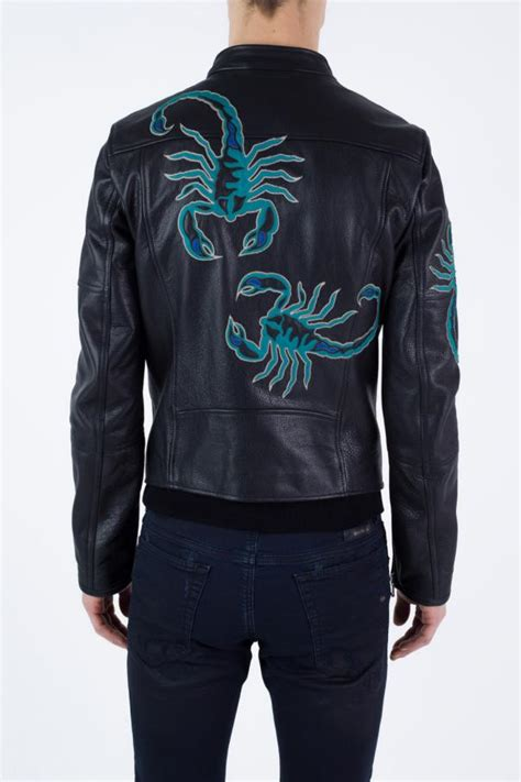 Motif Jacket scorpion motif leather jacket diesel black gold vitkac