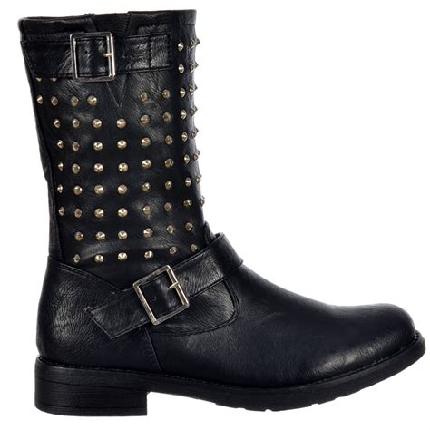 shoekandi buckled biker ankle boot studded black