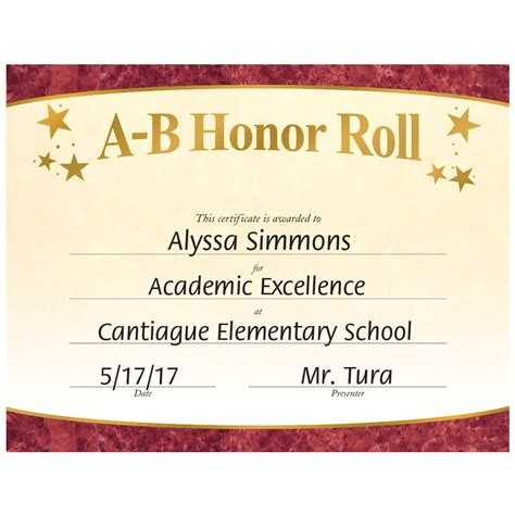 a b honor roll certificate template a b honor roll gold foil sted certificates positive