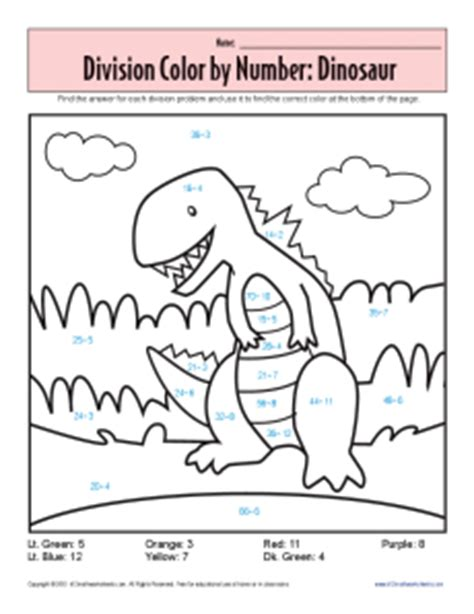 color by number division color by number dinosaur printable division worksheets