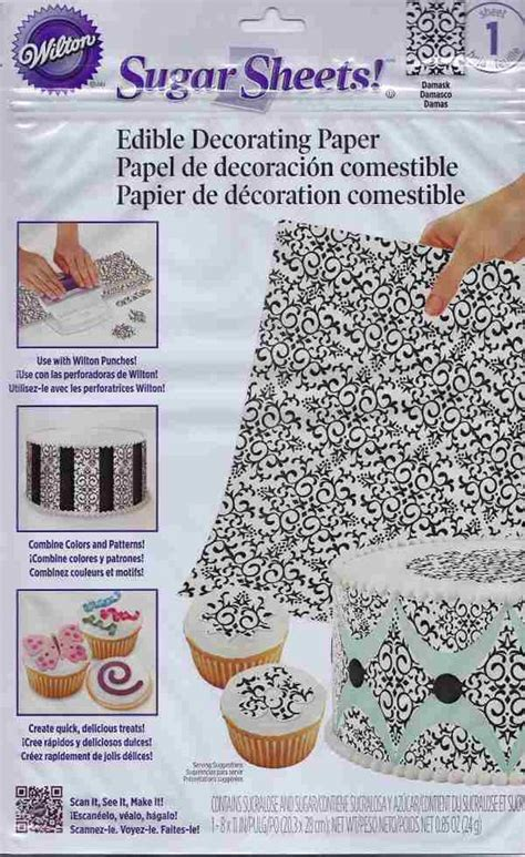 How To Make Sugar Sheets Edible Decorating Paper - black white damask sugar sheets edible decorating paper