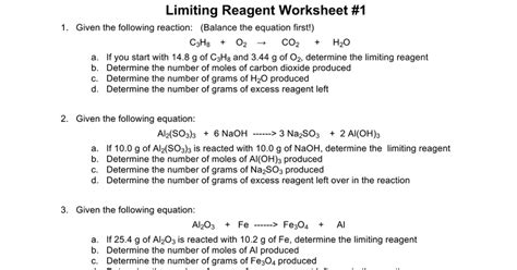 Limiting Reagents Worksheet by Limiting Reagent Worksheet Answers Lesupercoin Printables