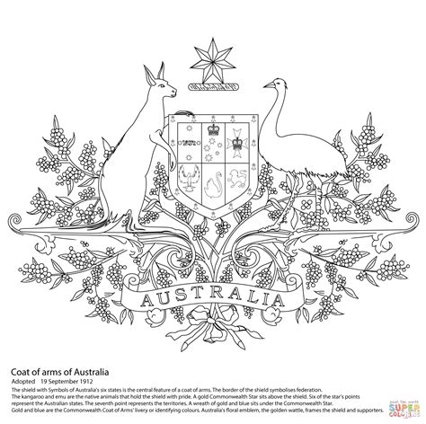 Australian Coat Of Arms Colouring Page Australian Coat Of Arms Coloring Page Free Printable