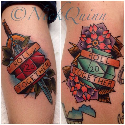 nerdy couple tattoos d20 tattoos 20 sided die tattoos by nick quinn