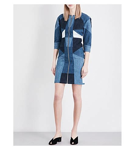 Cotton Denim Dress maje patchwork cotton denim dress