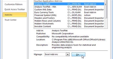 excel 2010 analysis toolpak tutorial excel analysis toolpak easy excel tutorial