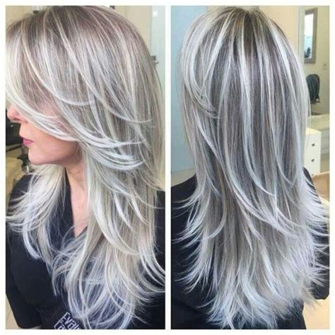 grey hair frosting shades beautiful pewter silver combination would love to try