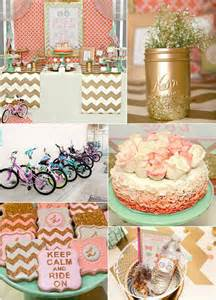 Bicycle Themed Home Decor Love This Mint Coral And Gold Bicycle Party Cute And