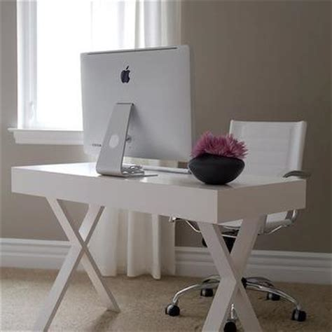 White X Base Desk Contemporary Den Library Office White Caign Desk