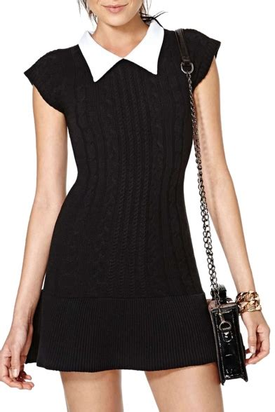 Contrast Sleeve Fitted Dress contrast point collar cap sleeve fitted knitted mini dress