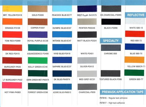 3m vinyl color chart color chart 3m avery ritrama vinyl colors autos post