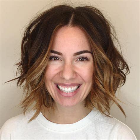 slighty shorter thansholder length womens hair style women s slightly angled soft layer bob with undone wavy