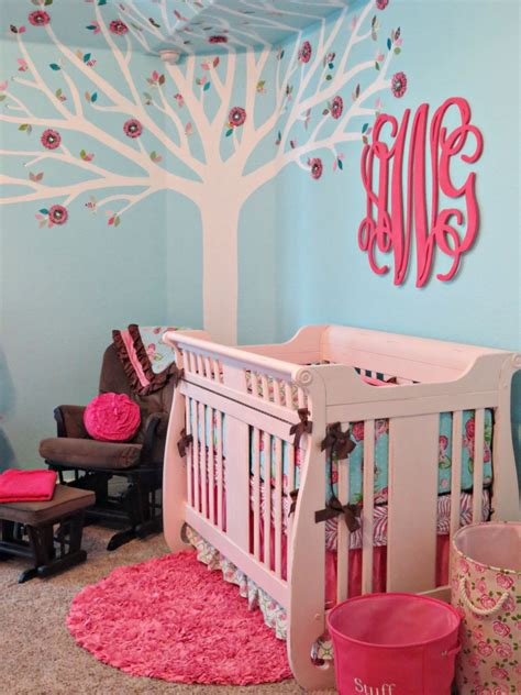 pink  aqua monogram nursery project nursery
