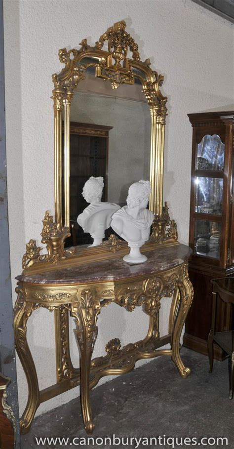 Table And Mirror Set by Empire Gilt Console Table And Mirror Set Demi Lune