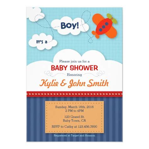 It S A Boy Airplane Baby Shower Invitation Zazzle Com Airplane Baby Shower Invitation Templates