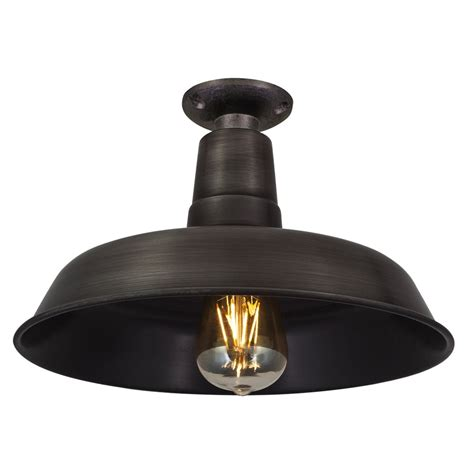 Vintage Industrial Style Flush Mount Farmhouse Pewter Style Flush Mount Ceiling Light