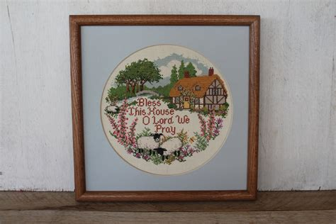 bless this house o lord we pray sheet music vintage framed cross stitch bless this house o lord we pray