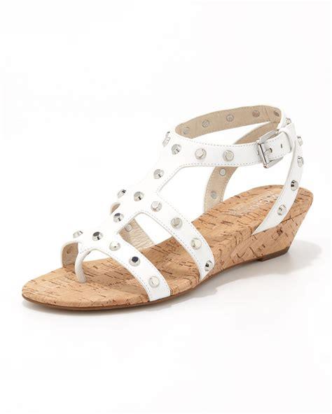 white wedge sandal michael michael kors studded wedge sandal in white
